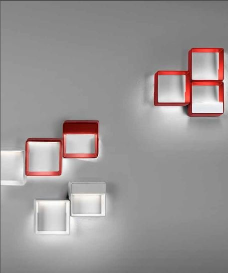 L mpara interior aplique de pared led cell me rojo leds c4 for Lamparas led interior